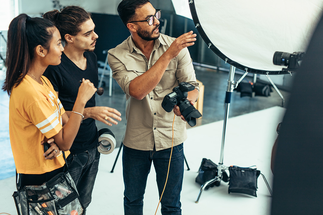 Photographers in a studio